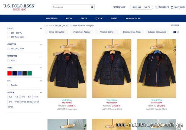 Çocuk kaban modelleri U.S. Polo Assn. internet mağazasında