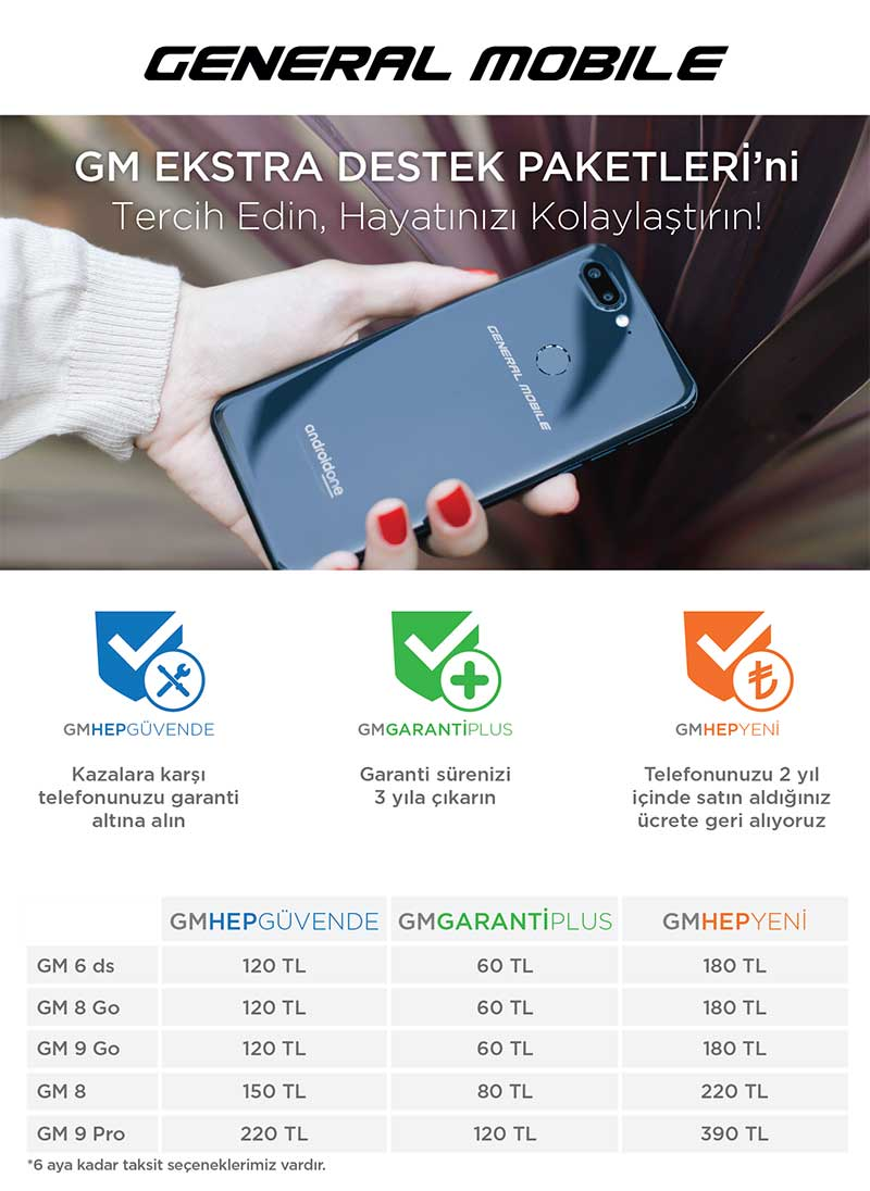 General Mobile Destek Paketleri