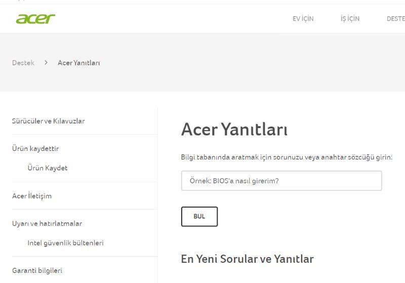 Acer Çevrimiçi Ürün Desteği